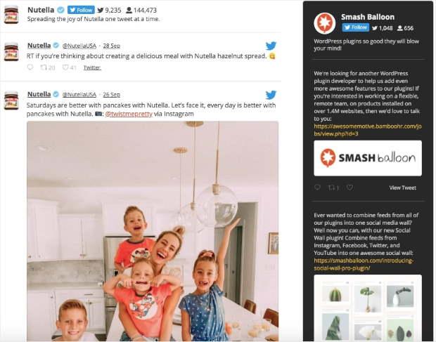 custom twitter sidebar feed customization example