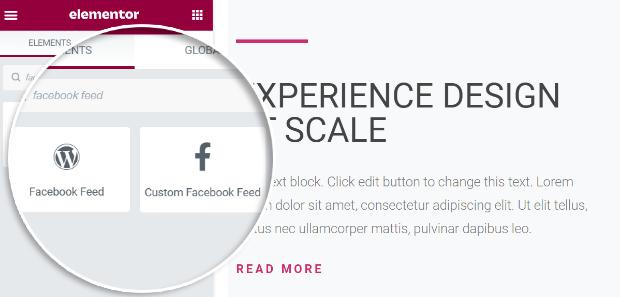 elementor support custom facebook feed pro