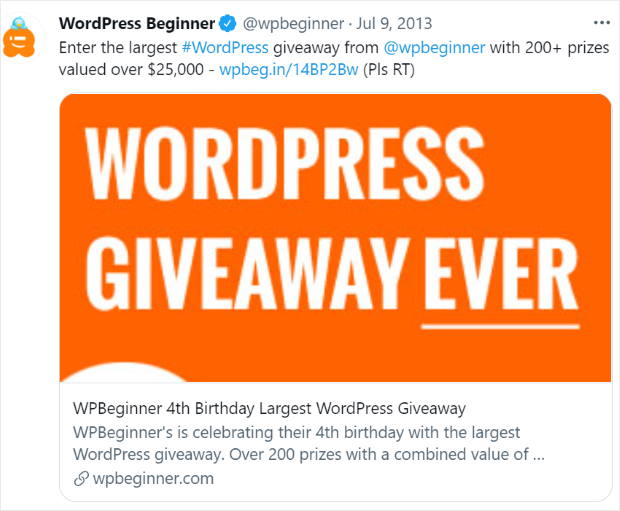giveaway to boost user engagement example