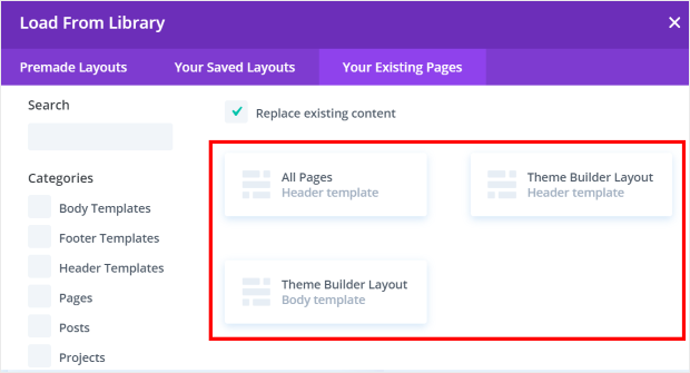 load your existing pages