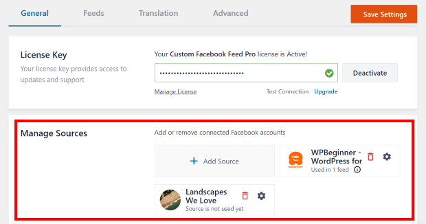custom facebook feed pro sources