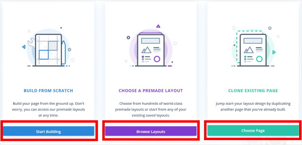 options to build a page in divi