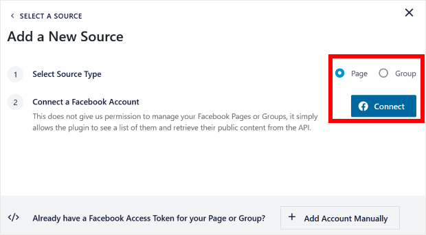 pick between group or page for facebook feed