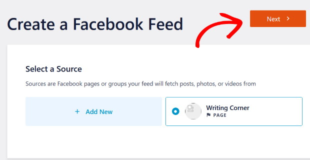 pick your source for custom facebook feed pro