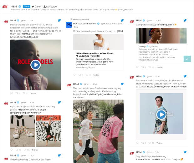 twitter feed on website example