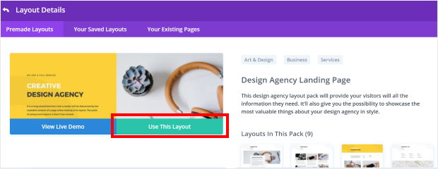 use a divi layout