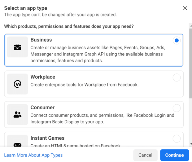 """Create an App ID window, select """"Manage Business Integrations"""""""
