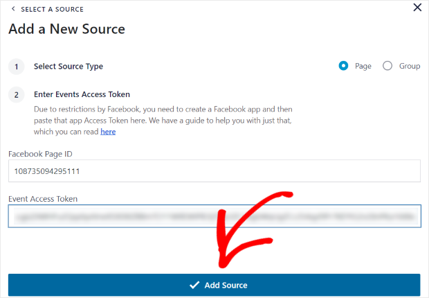 add a new source facebook feed