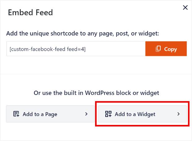 add facebook feed as a widget