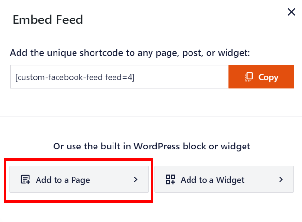 add facebook feed to page