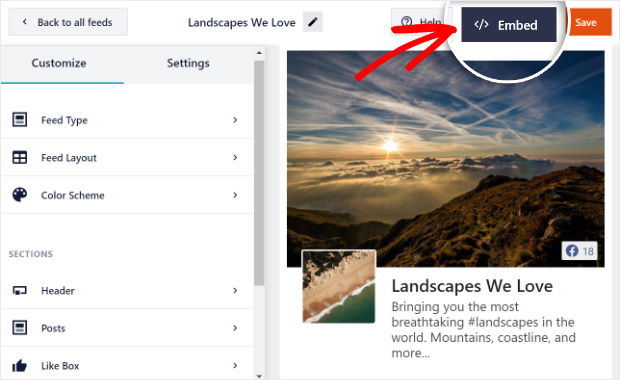click on the embed button in facebook editor