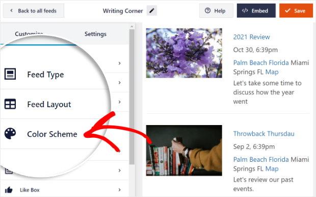 color scheme option facebook live editor