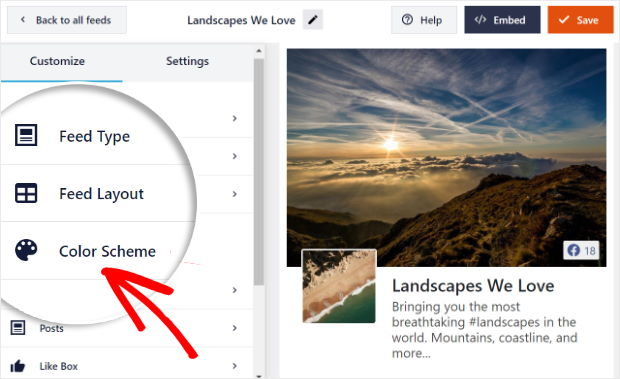 color scheme option for your facebook feed