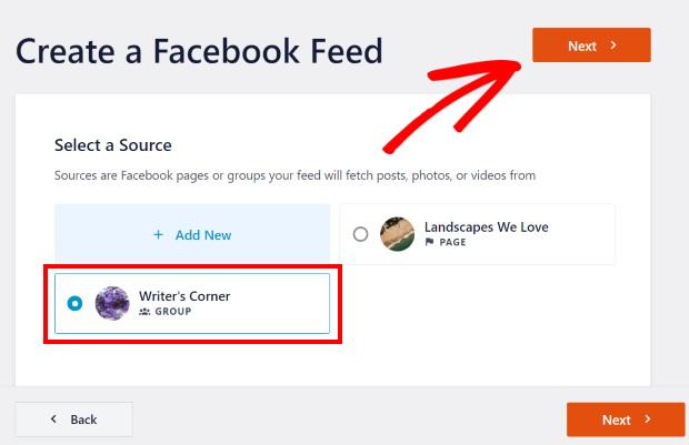 createa facebook group feed