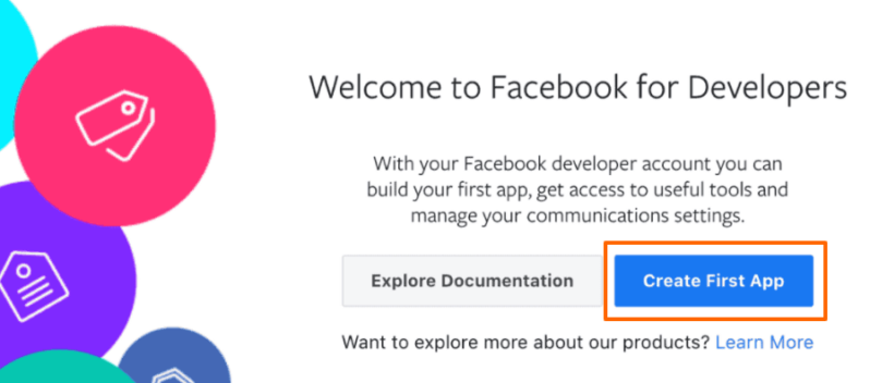 """Select the button """"Create First App"""""""