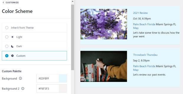 custom color scheme for your facebook events calendar