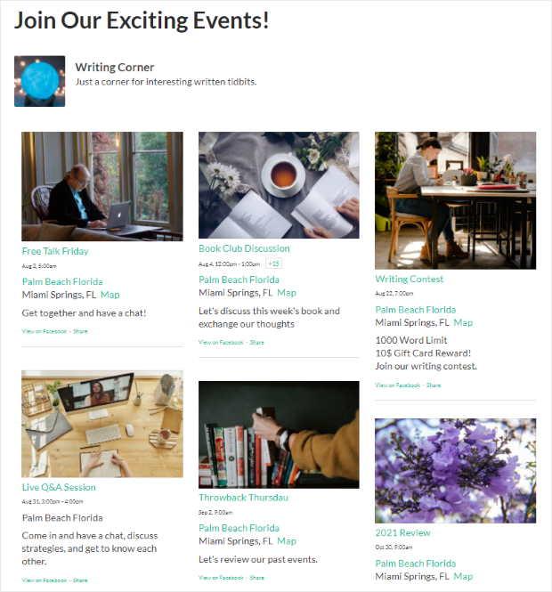 example of facebook events calendar