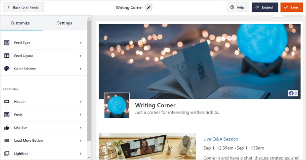 live facebook events feed editor