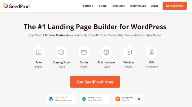 seedprod landing page builder for images
