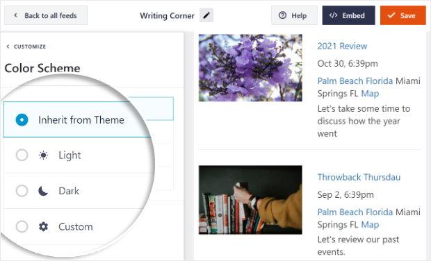 select color scheme option facebook live editor
