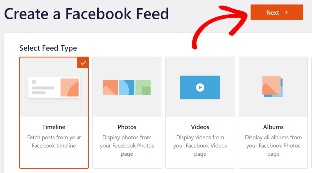select facebook feed type