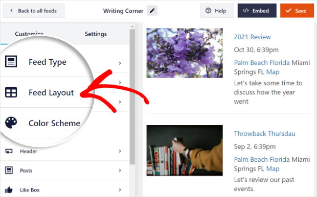 select feed layout option facebook live editor
