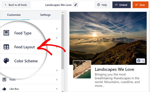 select feed layout option for facebook feed