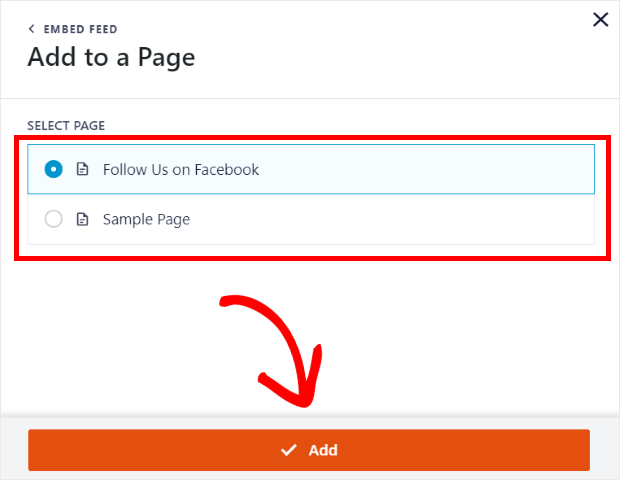 select page for facebook feed