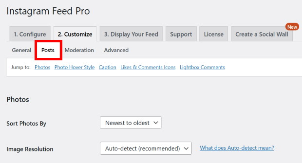 select posts option on instagram feed pro
