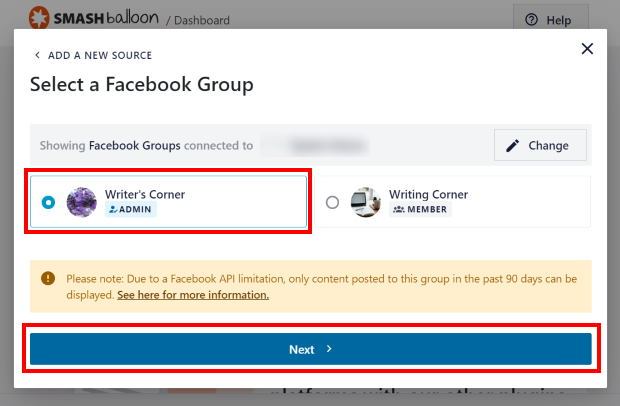 select your facebook group