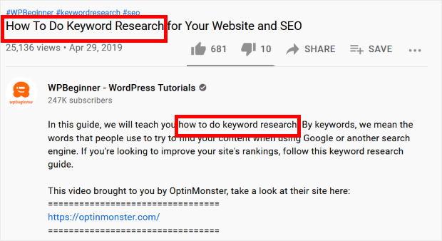 using keywords to promote youtube videos