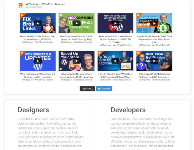 youtube feed to elementor page example