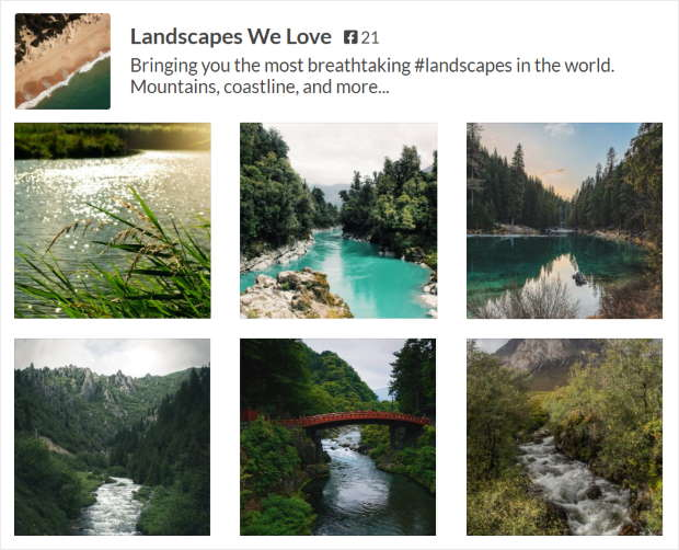 example of grid facebook photo feed