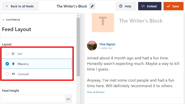 layout options for facebook social media reviews widget