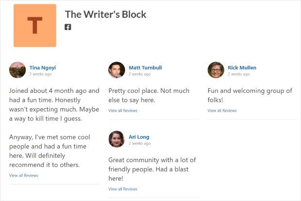 masonry layout facebook reviews feed