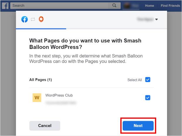 select wordpress page