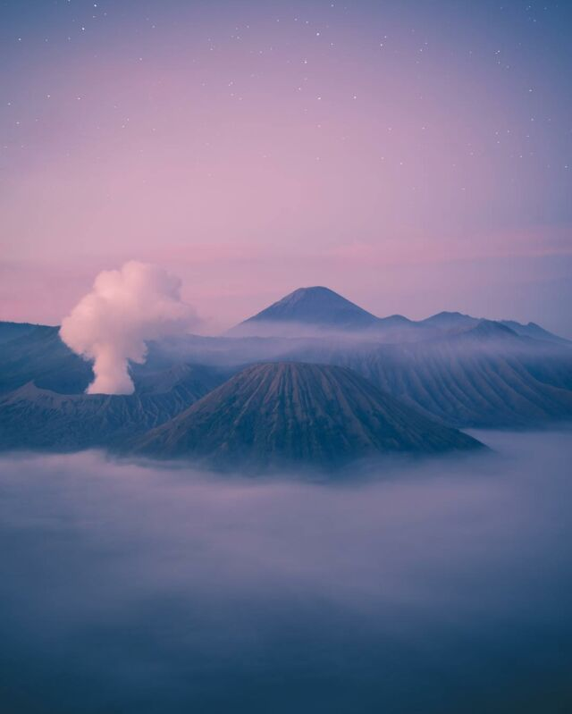 The mountains huff and puff, bellowing steam as their bellies roll #volcanoes
